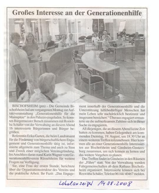 Ausschnitt aus dem Lokalanzeiger vom 14.08.2008